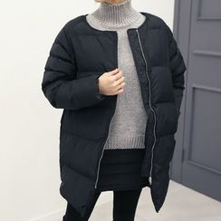 DANI LOVE - Collarless Zipped Padded Coat