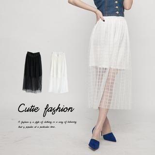 CUTIE FASHION - Plaid Tulle Maxi Skirt