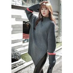 REDOPIN - High-Neck Rib-Knit Sweater