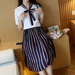 AGA - Set: Bow Short-Sleeve Top + Stripe Pleated Midi Skirt