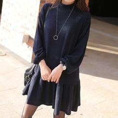 CLICK - Rib-Knit A-Line Dress