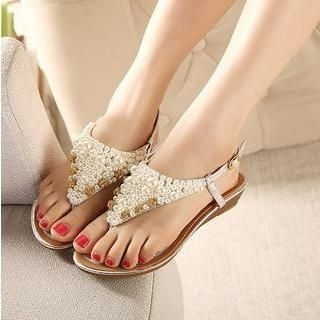X Times - Rhinestone Faux-Pearl Thong Sandals