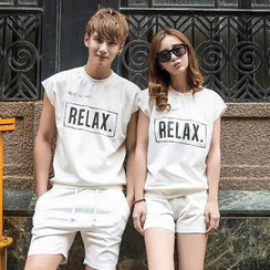 Evolu - Couple Set: Lettering T-Shirt + Shorts
