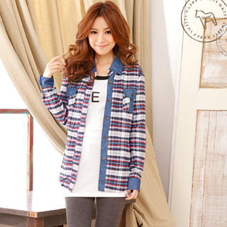 YUMI - Denim-Panel Plaid Flannel Blouse
