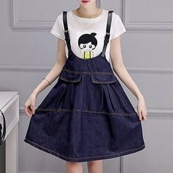 Romantica - Set: Applique T-Shirt + Suspender Skirt