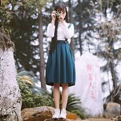 Miss Kekeli - Pleated Suspender Midi Skirt