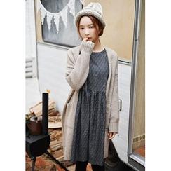 GOROKE - Open-Front Wool Blend Long Cardigan