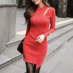 Aurora - Slit-Side Sheath Knit Dress