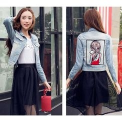 Neeya - Cartoon Applique Denim Jacket
