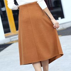 Hazie - Irregular Hem Knit Midi Skirt