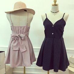 Octavia - Pinstriped Bow Spaghetti Strap Dress