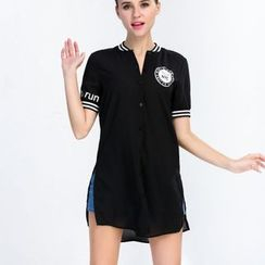 Yishion - Short-Sleeve Lettering Polo Shirt