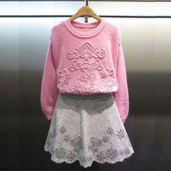 Iscat - Set: Knit Top + Skirt