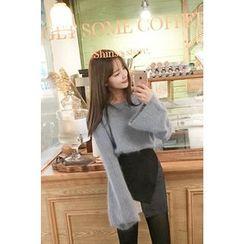 CHERRYKOKO - Bell-Sleeve Furry-Knit Top