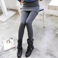 GLAM12 - Inset Skirt Fleece-Lined Leggings