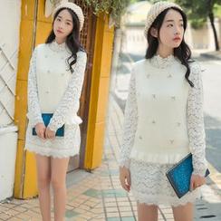 Ashlee - Set: Knit Vest + Long-Sleeve Lace Dress