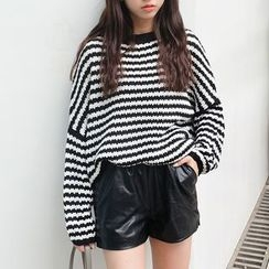 Moon City - Striped Cable Knit Sweater