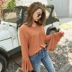 PPGIRL - V-Neck Bell-Sleeve Top