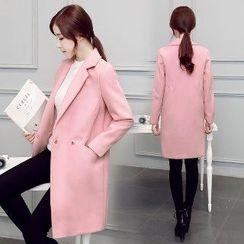 Romantica - Notched-Lapel Buttoned Plain Coat