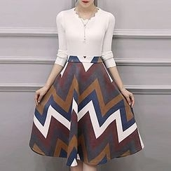 NEUF - Set: Knit Pullover + Striped A-line Midi Skirt