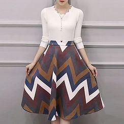 NEUF - 套裝: 針織套衫 + 條紋A字中長裙