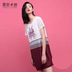 Cloudwood - Print Short Sleeve Shift Dress