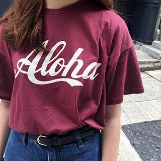 Dute - 'Aloha' Print Crewneck T-Shirt