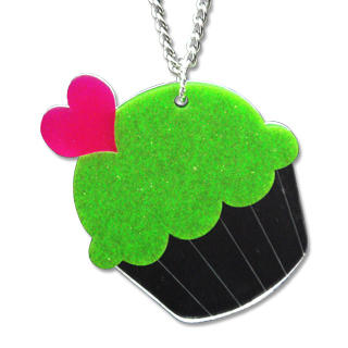 XL Glitter Green Cupcake Mirror Long Necklace
