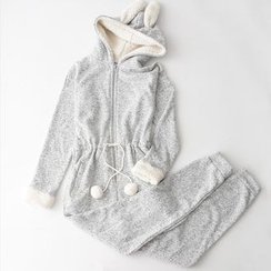 Rooftop Sonata - Rabbit Ear Hooded Jumpsuit