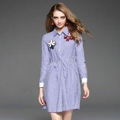 欧依潮派 - 长袖抽绳条纹贴饰连衣裙