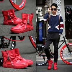 MR.GONG - Ruched Faux Leather Snow Boots