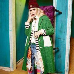 ELF SACK - Contrast-Color Melange Coat