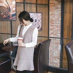 mimi&didi - Inset Shirt Ruffle-Hem Wool Blend Dress