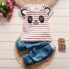 POMME - Kids Set: Panda Applique Short Sleeve T-Shirt + Jeans