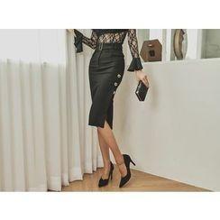 UUZONE - Button-Detail Slit-Side Skirt