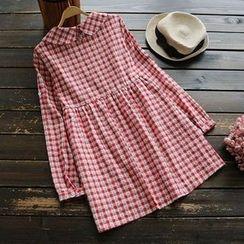 YOYO - 扣帶袖格子連衣裙