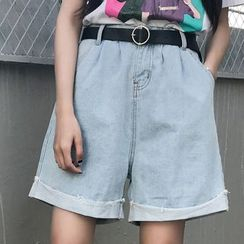 Dute - Wide Leg Denim Shorts