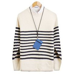 Seoul Homme - Stripe Waffle-Knit Top
