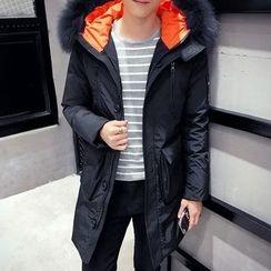 Bay Go Mall - Furry Hooded Long Padded Coat