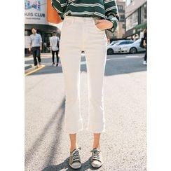 J-ANN - Fray-Hem Cropped Pants