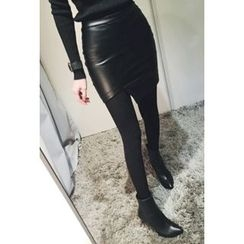 ATTYSTORY - Faux-Leather Asymmetric-Hem Mini Skirt