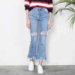Sens Collection - Ripped Boot Cut Jeans
