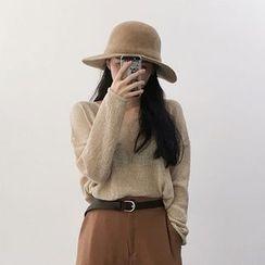 MePanda - Plain Open Knit Sweater