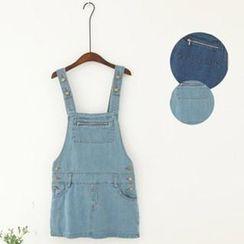 11.STREET - Zipper-Trim Washed Denim Jumper Skirt