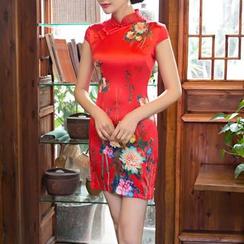 Maura Qipao - Floral Print Cap Sleeve Qipao