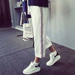 Mr. Cai - Paneled Wide-Leg Cropped Pants