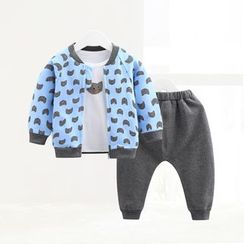 ciciibear - Kids Set: Patterned Jacket + Sweatpants