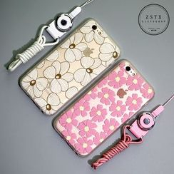 Cartoon Face - Floral Print Mobile Case with Neck Strap - iPhone 5 / 5s / 6 / 6 Plus