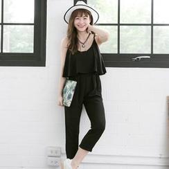 Tokyo Fashion - Cropped Ruffle Jumpsuit