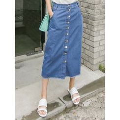 LOLOten - Button-Front Denim Long Skirt